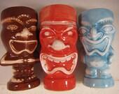 Three Vintage Colorful Tiki Vases