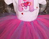 Monogrammed personalized onesie tutu hair bow set applique with hearts and embellishments
