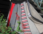 Bold boho hippie patchwork skirt in oyster,black, charcoal,stripes and splashes of red.