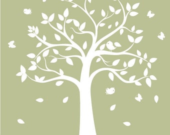 Vinyl Wall Decal - Children's Tree Decal with butterflies and birds - wall decal