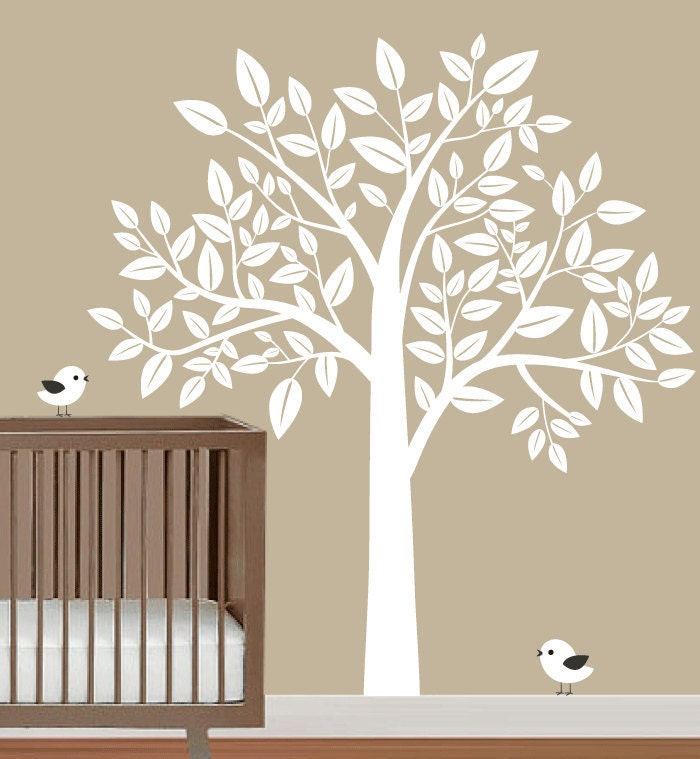 nursery wall decal white tree with birds wall by fancywalls With tree wall decal for nursery