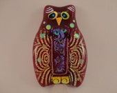 Owl Dichroic Fused Glass Jewelry - Red Dichroic Glass Brooch Owl Pin