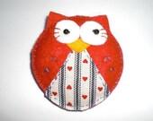 Felt Owl Brooch in Red, Felt Brooch, Felt Owl, Felt Owl Brooch, Felt Pin, Owl Pin, Handmade