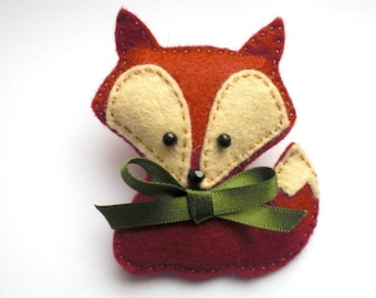 Felt Fox Brooch, Fox Brooch, Felt Brooch, Felt Fox, Felt Fox Pin