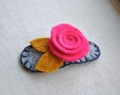 Felt Flower Rose Barrette in Bright Pink, Blue, and Mustard