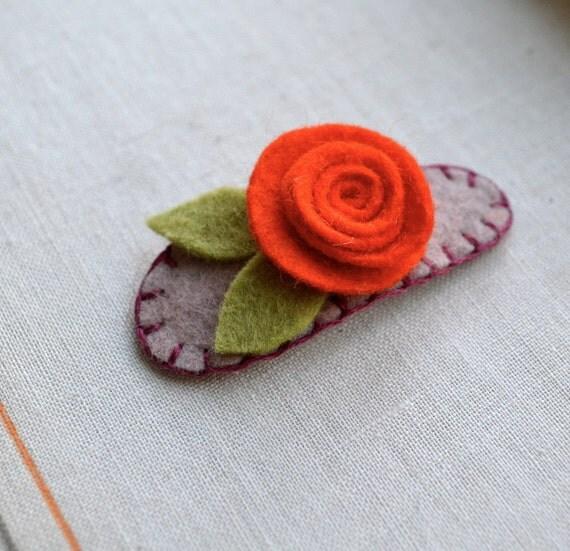 Felt Flower Rose Barrette in Orange, Pink and Pale Green