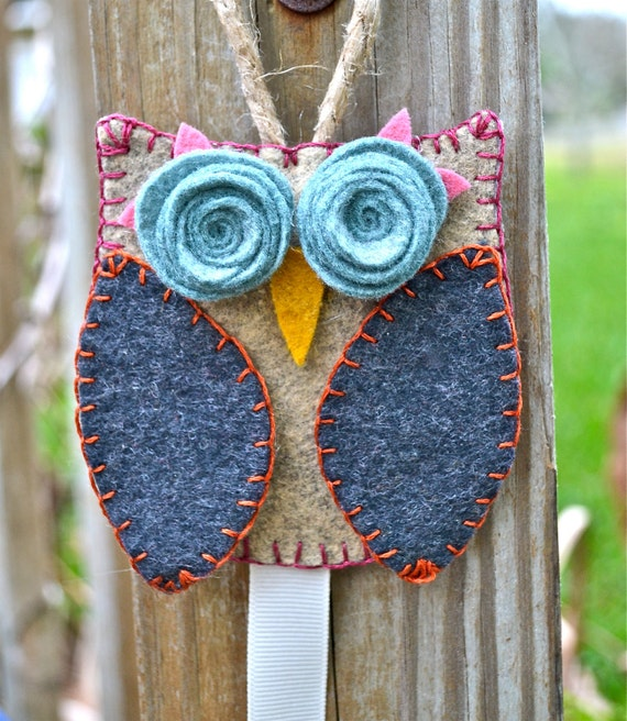 Barrette Holder - Owl in tan, charcoal, turquoise, pink, gold