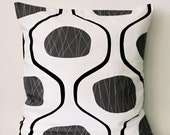 Pillow cover 20x20 . Accent pillow Black Grey and White print. Natural cotton