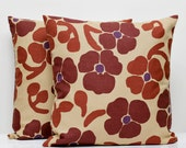 Set of 2 brown pillow covers - brown floral print pillow cases - decorative pillows cover - shams - 18x18 inch size   0220
