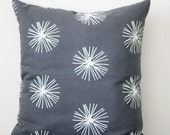 Decorative pillow cover 16x16 natural cotton fabric. grey color with white dandelion pucks