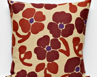 Pillow Cover brown floral print - shams - throw pillows - 18x18     0214
