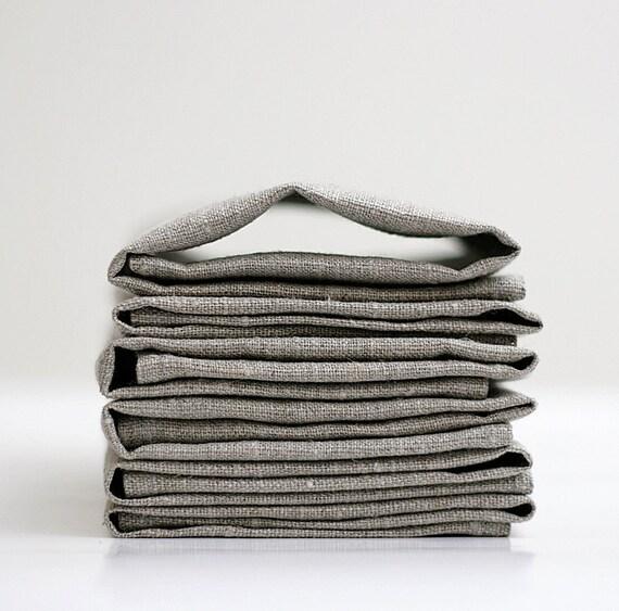 Cloth napkins - Natural Linen napkins  - Set of 8 cloth napkins - dinner nakins, table napkins 13x18 inch size   0258