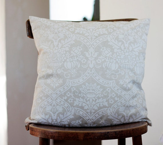 White pillow cover - damask print on linen - 14x14