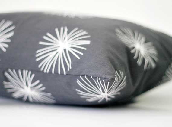 Decorative pillow cover 12x24 natural cotton fabric. grey color with white dandelion pucks