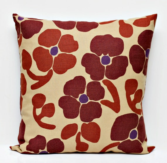 Brown Floral Throw Pillow : Items similar to Pillow Cover brown floral print - shams - throw pillows - 18x18 0214 on Etsy