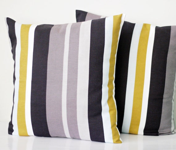 Sale. Fall home decor pillow covers with grey mustard stripes 18x18 inch size from natural cotton
