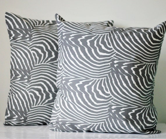 Pillow covers set of two - decorative marimekko cover - throws - grey pillows  - 18x18 inch