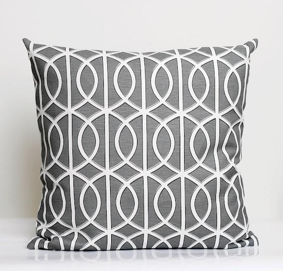 Designer Pillow Cover- shams - decorative cases - 14x14 - Dwell Studio - grey - bella porte print   0208