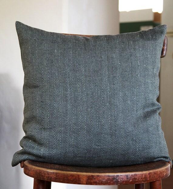 Pillow cover linen green and black - herringbone tweed fabric - 14x14