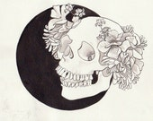 Giclee Print Human Skull with Floral Crown Original Illustration