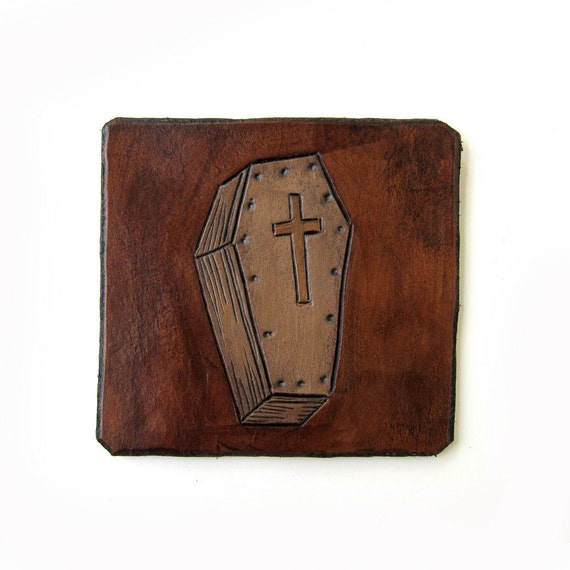 Petite Coffin Hand Tooled Leather Patch