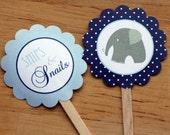 Boy Baby Shower Cupcake Toppers - Elephantine - Polka Dot blue - INSTANT DOWNLOAD - DIY printable
