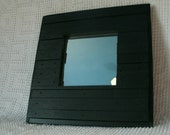 Black Slatted Wood Framed Wall Mirror