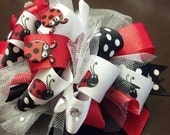Red, Black and White Ladybug Funky Loopy Hair Bow by Ideal Bows