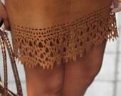 Laser Cut Look Chamois Vintage Skirt