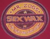 Wax Your Stick - Vintage maroon Mr. Zogs Sex Wax skateboard/surf T-shirt LARGE vtg