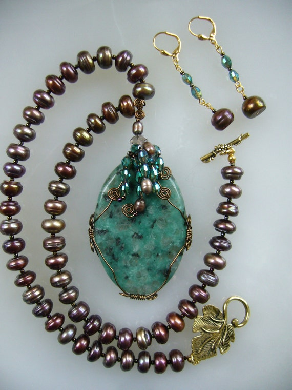 Teal  Waves on a Moon Lit Ocean Pearl Necklace,RESERVED FOR GERALDINE