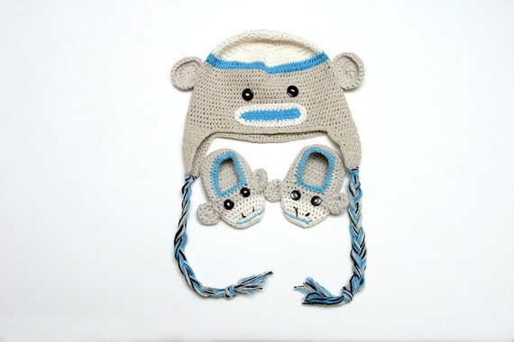 Baby Sock Monkey & Hat Shoe Set- Crocheted Handmade