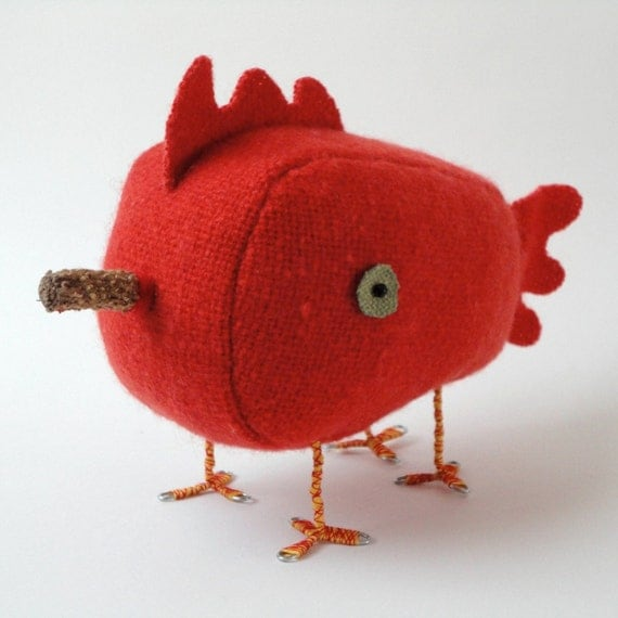 four-legged chicken, vintage wool, pagoda orange