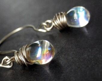 Wire Wrapped Earrings: Clear Iridescent Drop Earrings in Silver. Dangle Earrings. Handmade Jewelry.