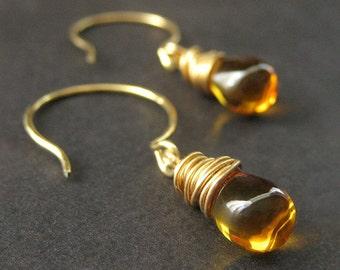 14K GOLD Teardrop Earrings - Honey Amber Wire Wrapped Earrings. Handmade Jewelry.