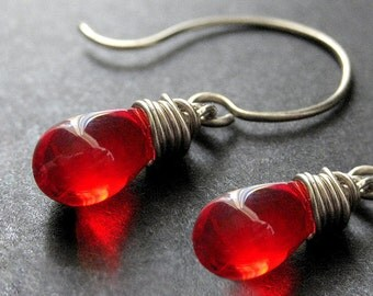 STERLING SILVER Wire Wrapped Earrings - Blood Red Clear Teardrop Earrings. Handmade Jewelry.