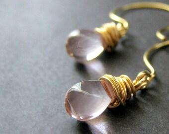 Teardrop Earrings: Wire Wrapped Light Pink Earrings in Gold. Handmade Jewelry.