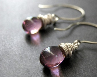 Wire Wrapped Orchid Purple Clear Drop Earrings in Silver. Handmade Jewelry.