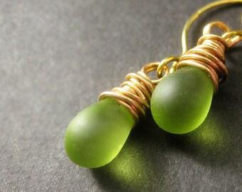Teardrop Earrings: Wire Wrapped Drop Earrings. Frosted Green Earrings in Gold. Handmade Jewelry.
