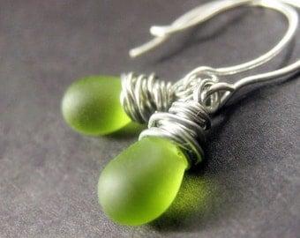 STERLING SILVER Wire Wrapped Earrings - Grass Green Frosted Teardrop Earrings. Handmade Jewelry.