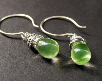 STERLING SILVER Wire Wrapped Earrings - Lemon Lime Clear Teardrop Earrings. Handmade Jewelry.