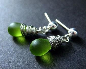 Dangle Earrings : Wire Wrapped Frosted Green Teardrop Stud Earrings. Handmade Jewelry.