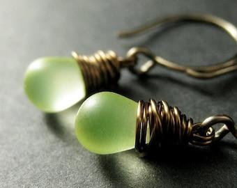 BRONZE Earrings. Lemon Drop Earrings. Teardrop Earrings. Lemon Lime Earrings. Wire Wrapped Dangle Earrings. Frosted Glass Handmade Jewelry.