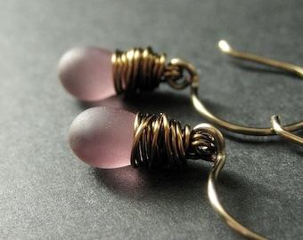 BRONZE Earrings - Purple Dangle Earrings with Frosted Glass Teardrops, Wire Wrapped Earrings. Handmade Jewelry.