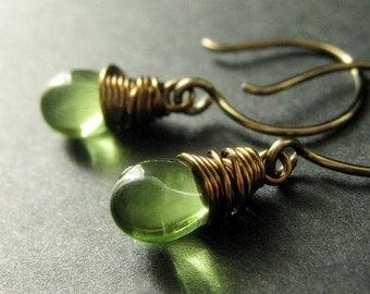BRONZE Earrings - Green Earrings, Teardrop Dangle Earrings, Wire Wrapped Handmade Earrings. Handmade Jewelry.
