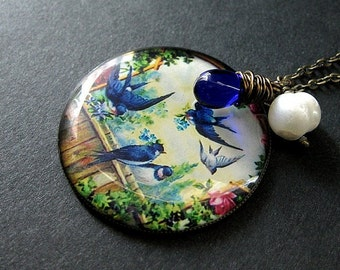 Bird Necklace. Cobalt Blue Bird Pendant. Blue Bird Necklace with Wire Wrapped Cobalt Blue Teardrop and Fresh Water Pearl. Handmade Necklace.