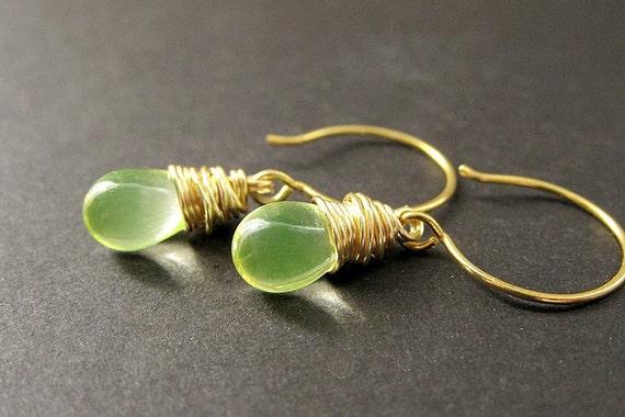 14K GOLD Earrings - Wire Wrapped Earrings - Clear Lemon Lime Teardrop Earrings. Handmade Jewelry.