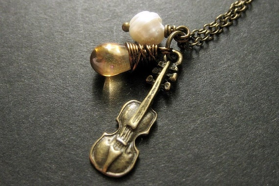 Classical Music Necklace. Cello Necklace, Violin Necklace, Fiddle Pendant. Charm Necklace Handmade Jewelry.