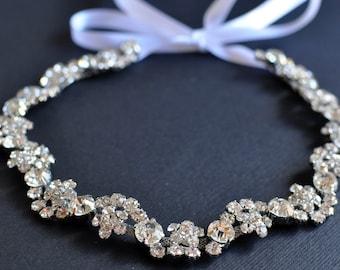 Emily - Rhinestone Ribbon Headband, Wedding Headpiece, Rhinestone, Crystal, Accessories, Bridal, Wedding, sparkle