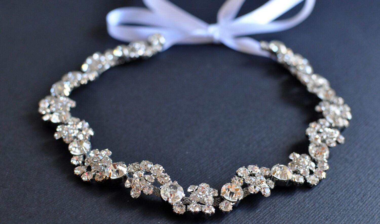 emily rhinestone ribbon headband wedding headpiece